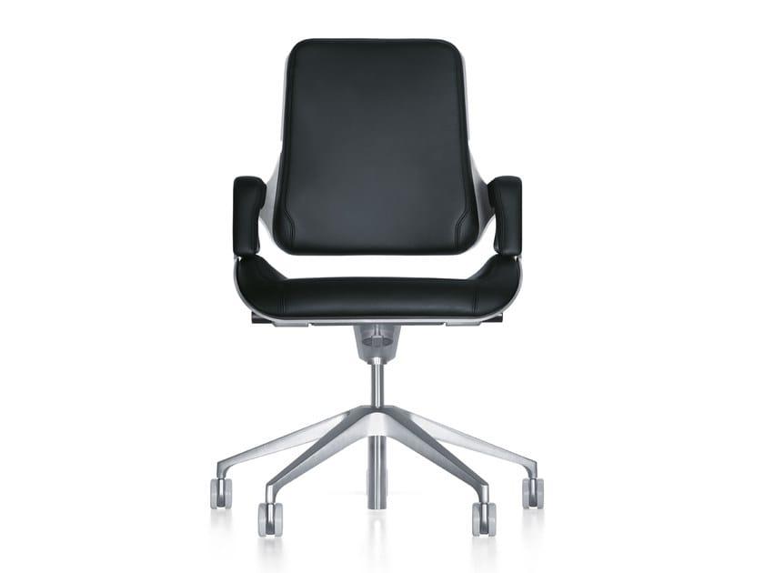 Sedia ufficio operativa ergonomica in pelle con ruote silver 262s