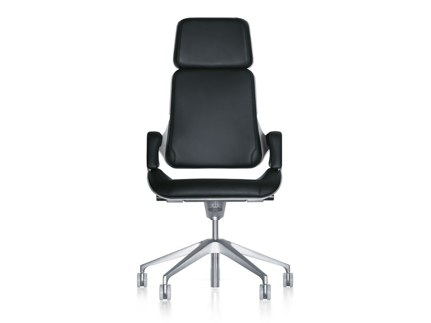Leather executive chair with armrests with casters SILVER 362S by Interstuhl