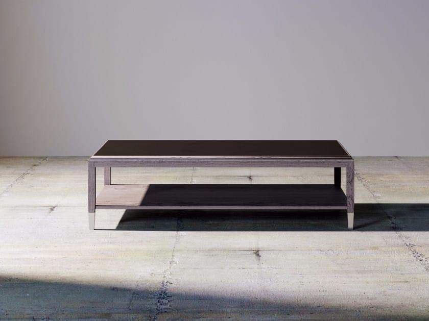 Rectangular wood veneer coffee table with integrated magazine rack SILVER LINE | Rectangular coffee table by ITALIANELEMENTS