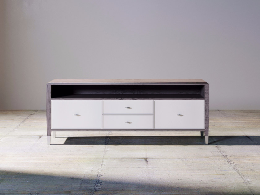 Low lacquered wooden TV cabinet with drawers SILVER LINE | TV cabinet by ITALIANELEMENTS