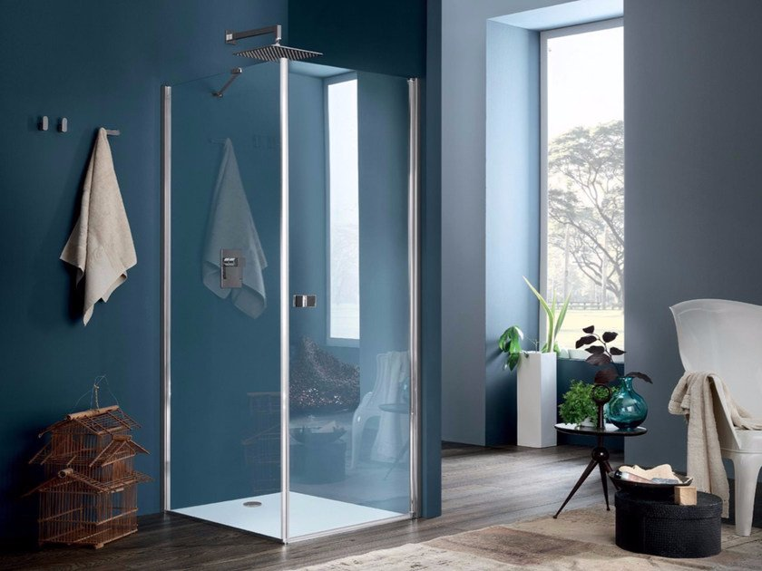 Glass shower cabin with hinged door SIM - 2 by INDA®