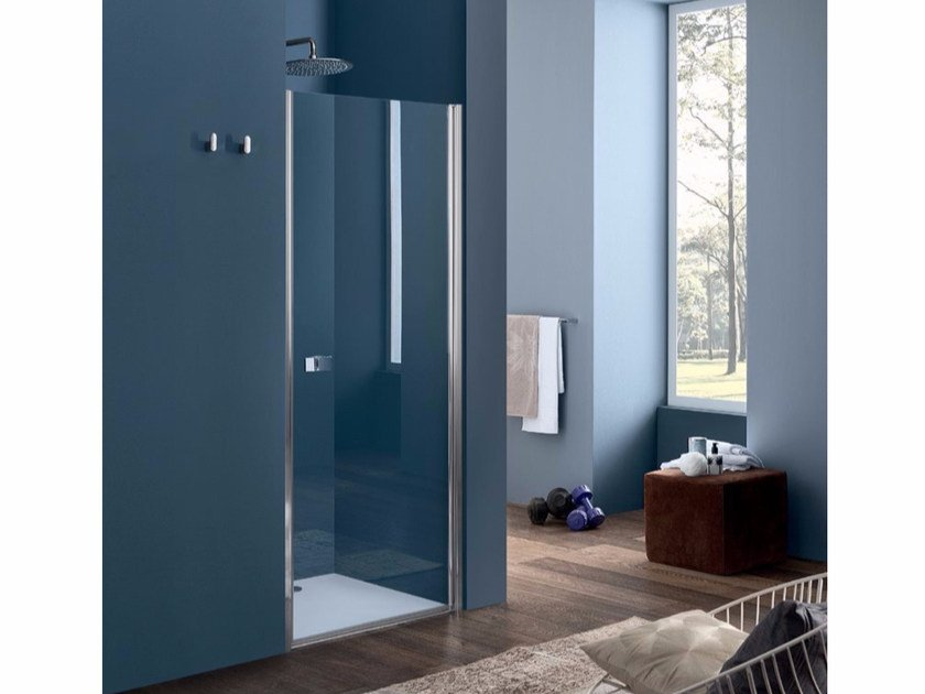 Niche glass shower cabin with hinged door SIM - 4 by INDA®