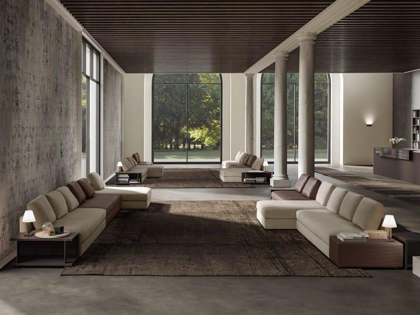 Sectional fabric sofa with chaise longue SIMON SLIM | Sofa with chaise longue by JESSE