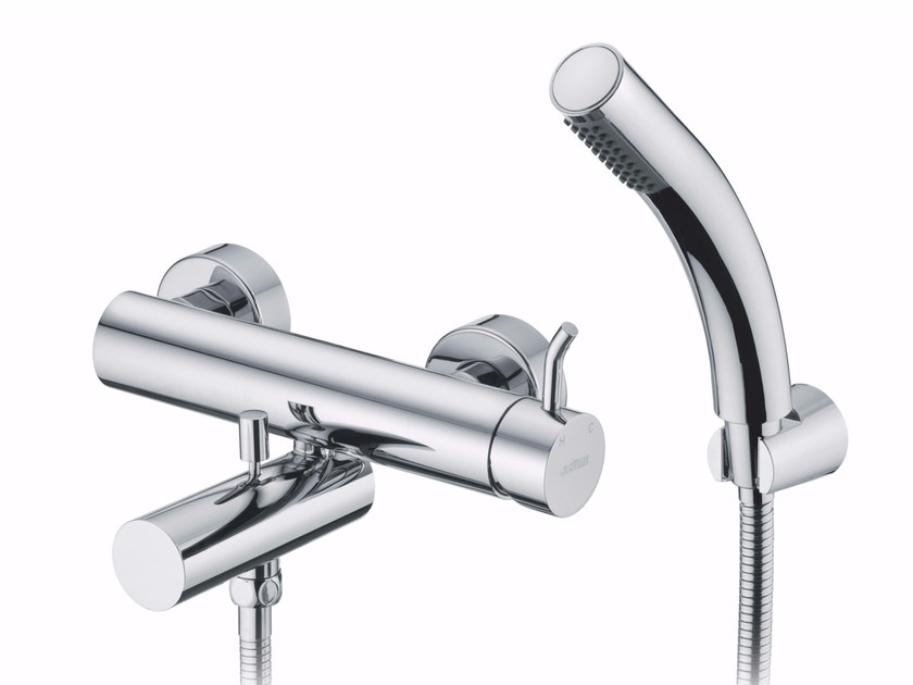 3 hole wall-mounted chromed brass bathtub mixer with hand shower SIMPLE | Bathtub mixer by JUSTIME