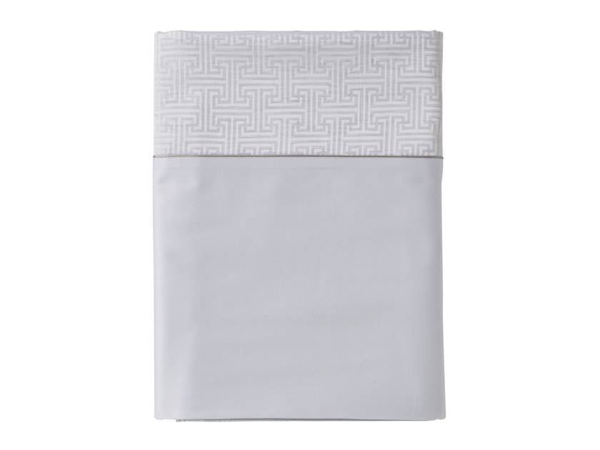 Reversible jacquard cotton bed sheet with graphic pattern SIMPLE T | Bed sheet by Alexandre Turpault