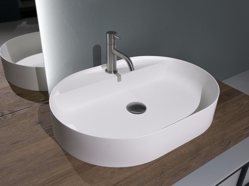 Countertop oval Flumood® washbasin SIMPLO | Oval washbasin by Antonio Lupi Design
