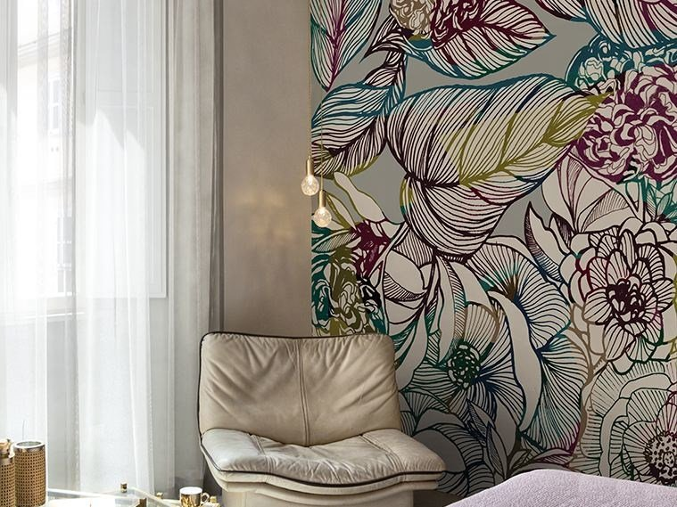 Wallpaper with floral pattern SINFONIA by Wall&decò