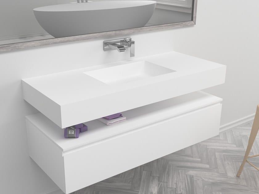 Rectangular single wall-mounted Corian® washbasin SQUARE   Single washbasin by RILUXA