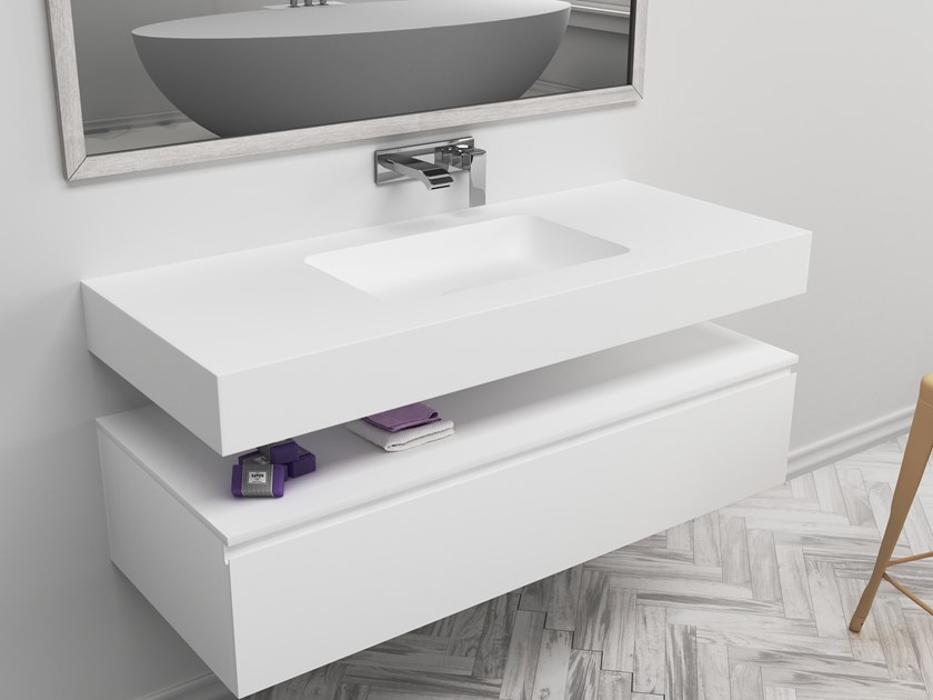 Rectangular single wall-mounted Corian® washbasin TORONTO | Single washbasin by RILUXA