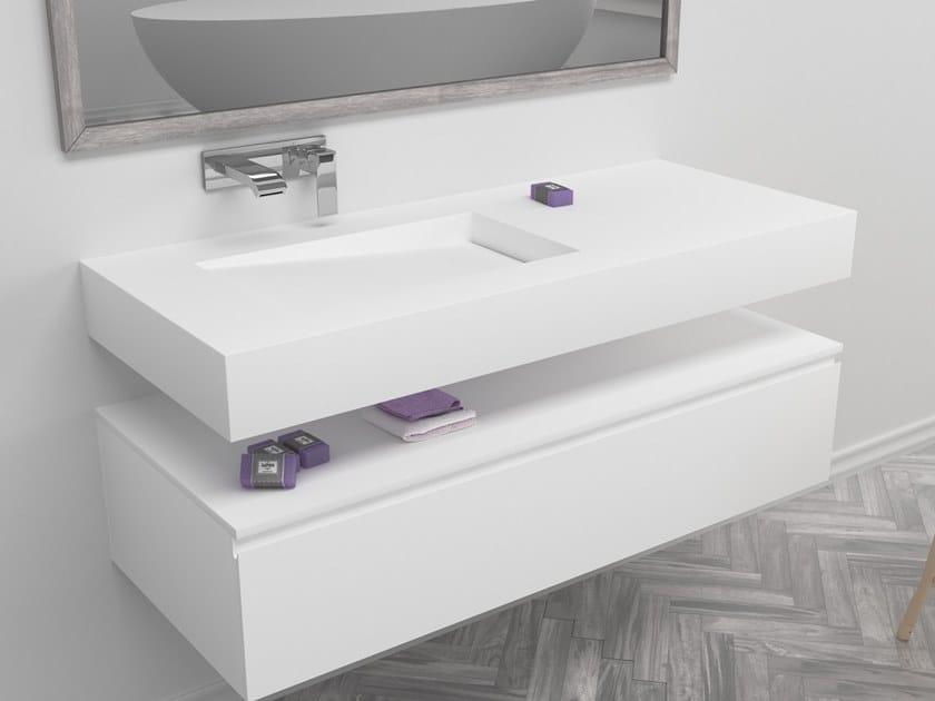 Rectangular single wall-mounted Corian® washbasin CANADA | Single washbasin by RILUXA