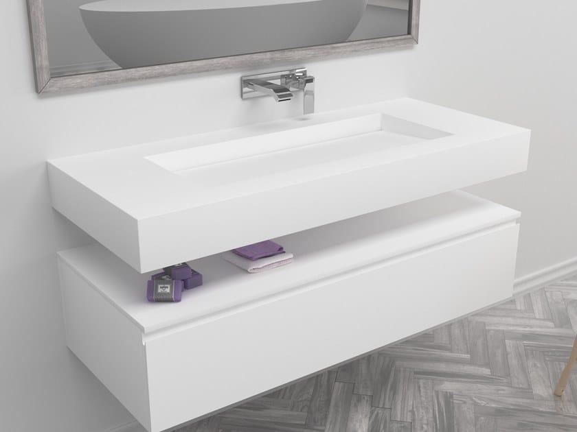 Rectangular single wall-mounted Corian® washbasin GEORGIA | Single washbasin by RILUXA