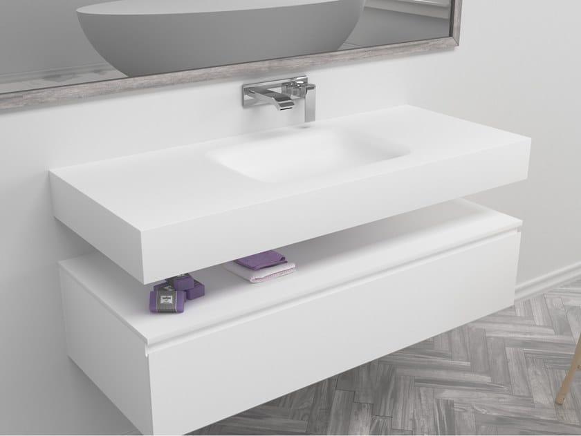 Rectangular single wall-mounted Corian® washbasin NEVADA | Single washbasin by RILUXA