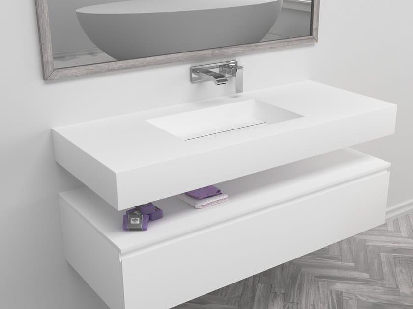 Rectangular single wall-mounted Corian® washbasin TEXAS | Single washbasin by RILUXA