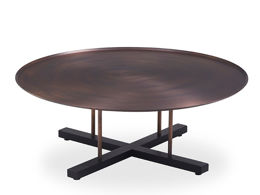 Low round coffee table with bronze finish SINI | Low coffee table by B&T Design