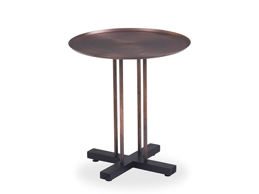 Round side table with bronze finish SINI | Side table by B&T Design