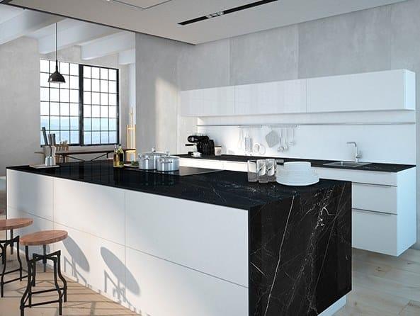 Sintered ceramic kitchen worktop with marble effect NEGRO MARQUINA | Sintered ceramic kitchen worktop by ITT Ceramic