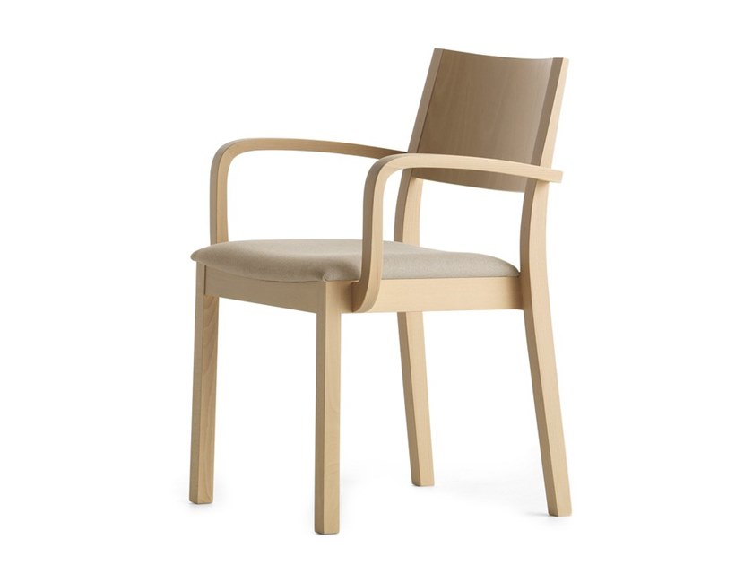 Upholstered stackable chair with armrests SINTESI 01521 by Montbel
