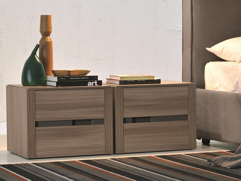 Melamine-faced chipboard bedside table with drawers SIRIO | Bedside table by Febal Casa