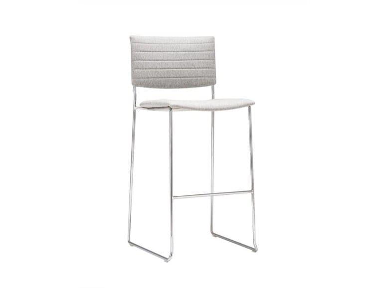 Upholstered stackable sled base stool SIT BQ1203 / BQ1204   Upholstered stool by Andreu World