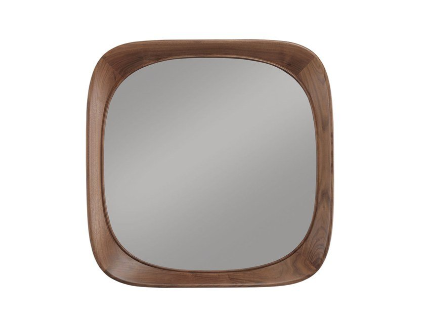 Square framed solid wood mirror SIXTY'S | Square mirror by Wewood