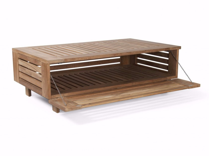 Rectangular teak garden side table with storage space SKANÖR L | Coffee table by Skargaarden