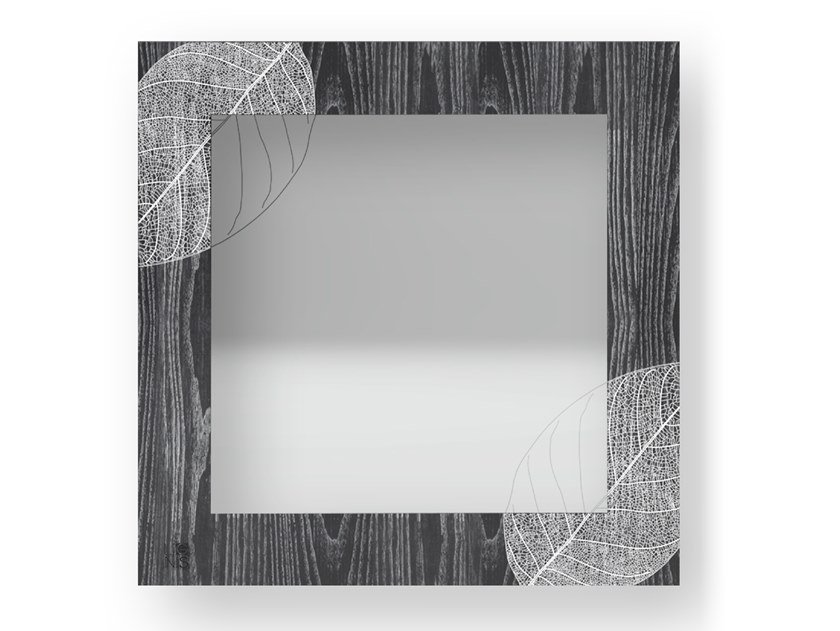 Square wall-mounted framed mirror SKELETON COLORS | Mirror by LIGNIS®