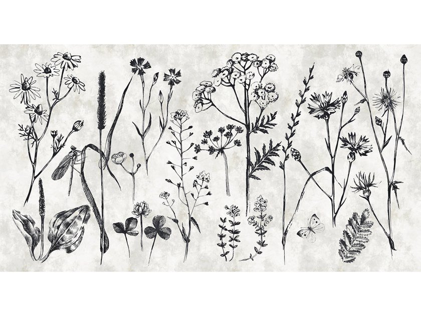 Digital printing wallpaper with floral pattern SKETCHPAD by Architects Paper