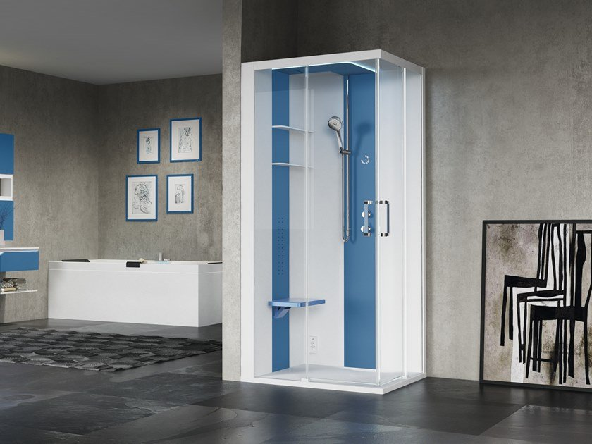 Corner multifunction shower cabin with sliding door SKILL A100X80 by NOVELLINI