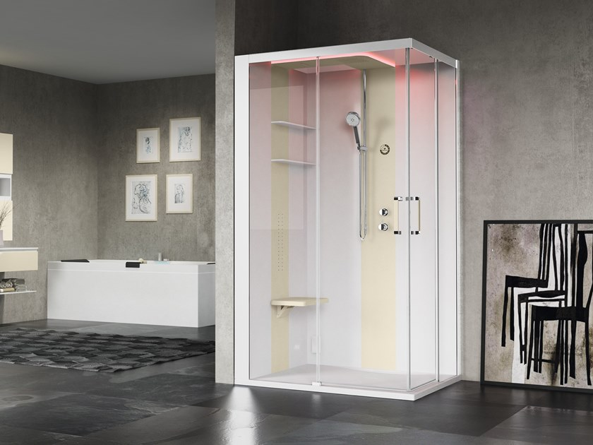 Corner multifunction shower cabin with sliding door SKILL A120X100 by NOVELLINI