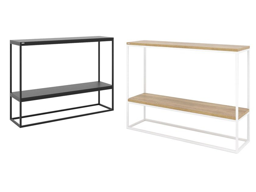 Steel and wood console table with shelving SKINNY | Console table with shelving by take me HOME