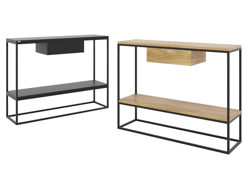 Steel and wood console table with drawers with shelving SKINNY   Steel and wood console table by take me HOME