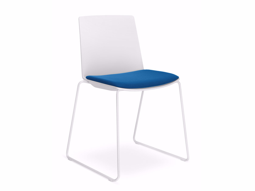 Sled base upholstered fabric reception chair SKY FRESH 042-N4 by LD Seating