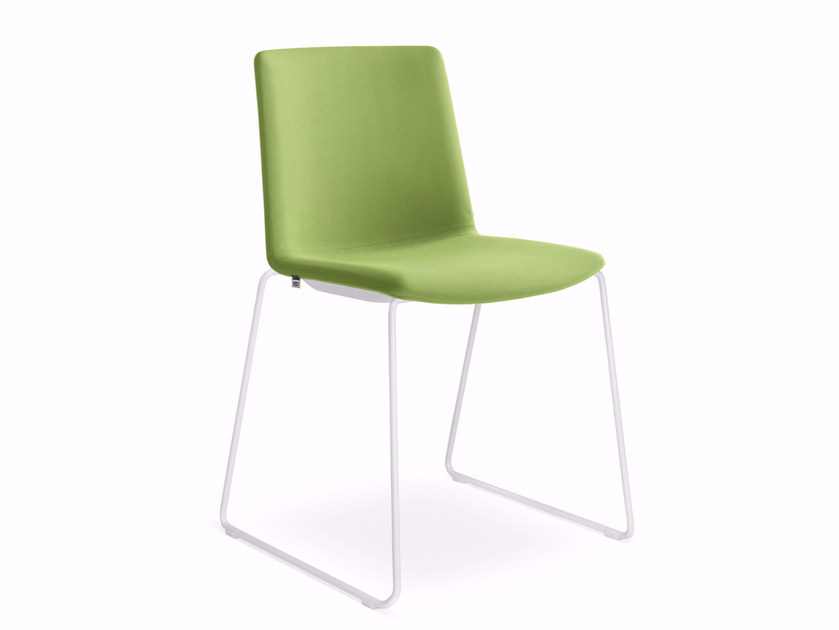 Sled base upholstered fabric reception chair SKY FRESH 045-N0 by LD Seating