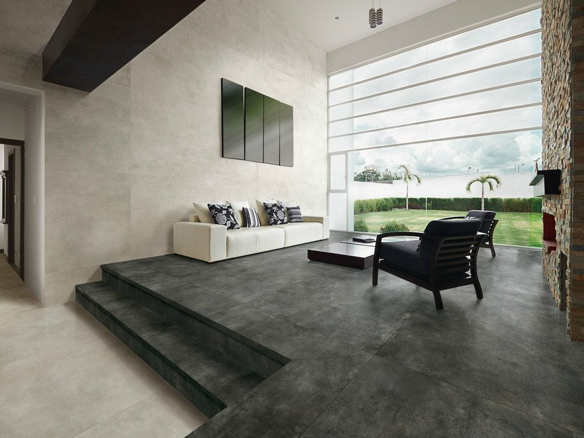 Porcelain stoneware flooring with concrete effect SKYLINE ANTRACITE by AVA Ceramica