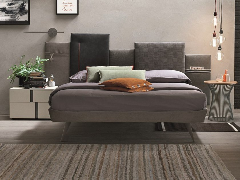 Fabric double bed with upholstered headboard SKYLINE | Bed with upholstered headboard by Gruppo Tomasella