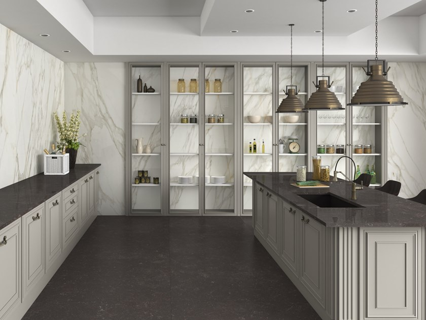 Porcelain stoneware wall/floor tiles with marble effect SLABS - BORGHINI by APAVISA