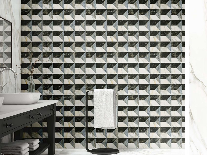Porcelain stoneware wall tiles with marble effect SLABS - OCEAN BLUE DECOR by APAVISA
