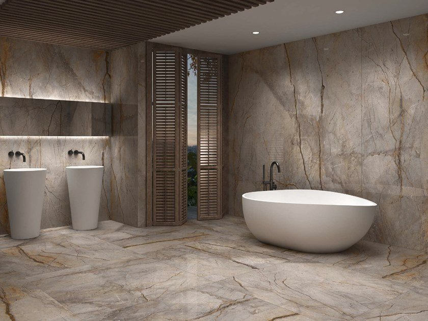 Porcelain stoneware wall/floor tiles with marble effect SLABS - WILD FOREST by APAVISA