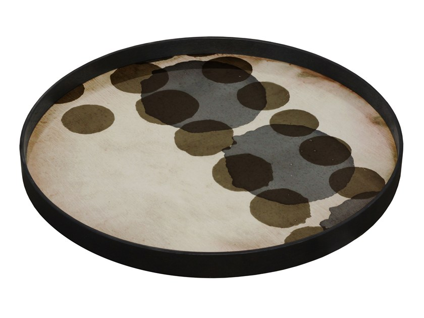 Round glass tray SLATE LAYERED DOTS by Notre Monde