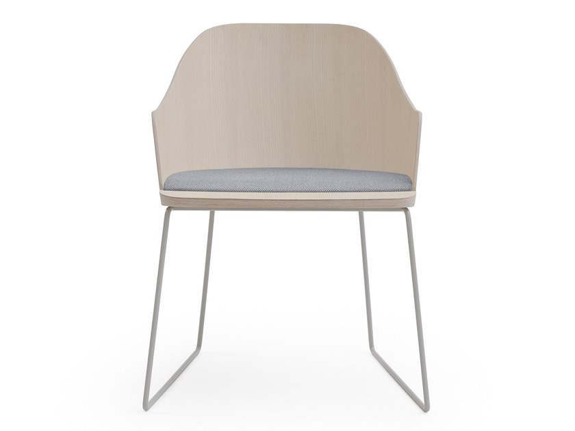 Sled base ash chair with integrated cushion FITT CLASSIC | Sled base chair by Billiani