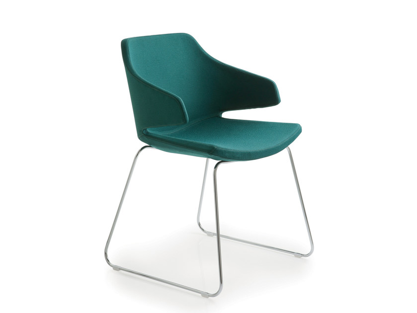 Sled base fabric chair with armrests MERAVIGLIA   Sled base chair by Luxy