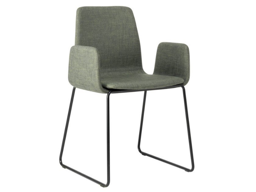 Sled base fabric chair with armrests and metal base TECLA SB01 BASE 20 by New Life