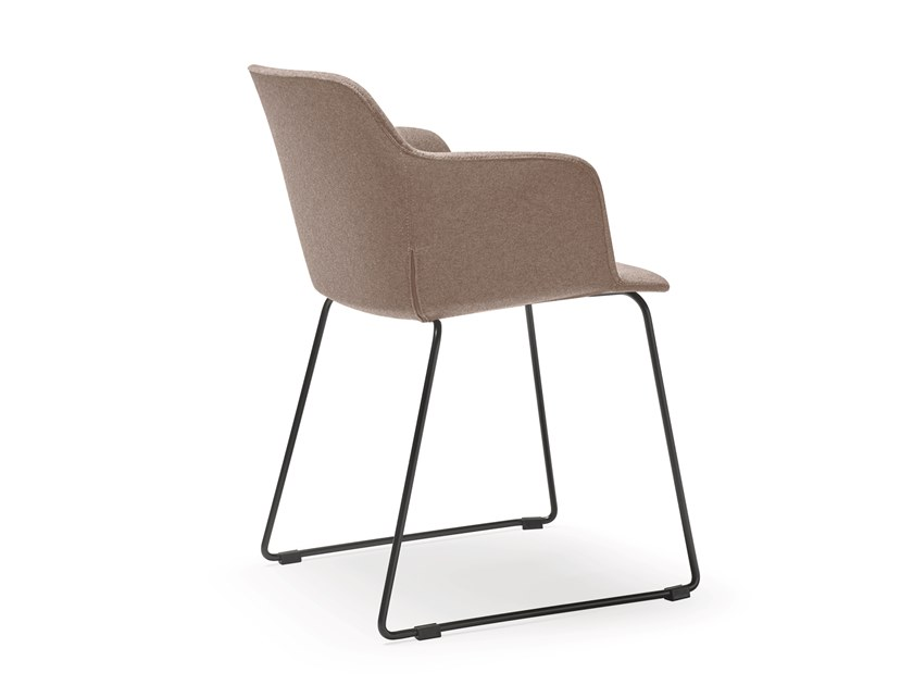 Sled base fabric chair with armrests DEEP COVER | Sled base chair by Quinti Sedute