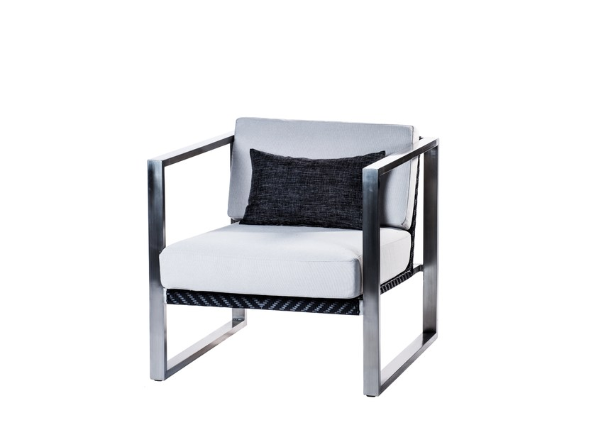 Sled base garden armchair with armrests HARRISON | Sled base garden armchair by 7OCEANS DESIGNS