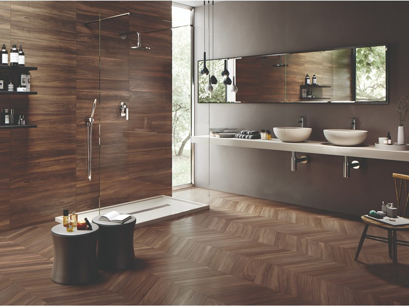 Porcelain stoneware wall/floor tiles with wood effect SLEEK WOOD NUT by EmilCeramica by Emilgroup