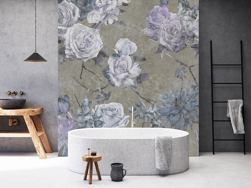 Digital printing wallpaper with floral pattern with textile effect SLEEPING BEAUTY by Architects Paper