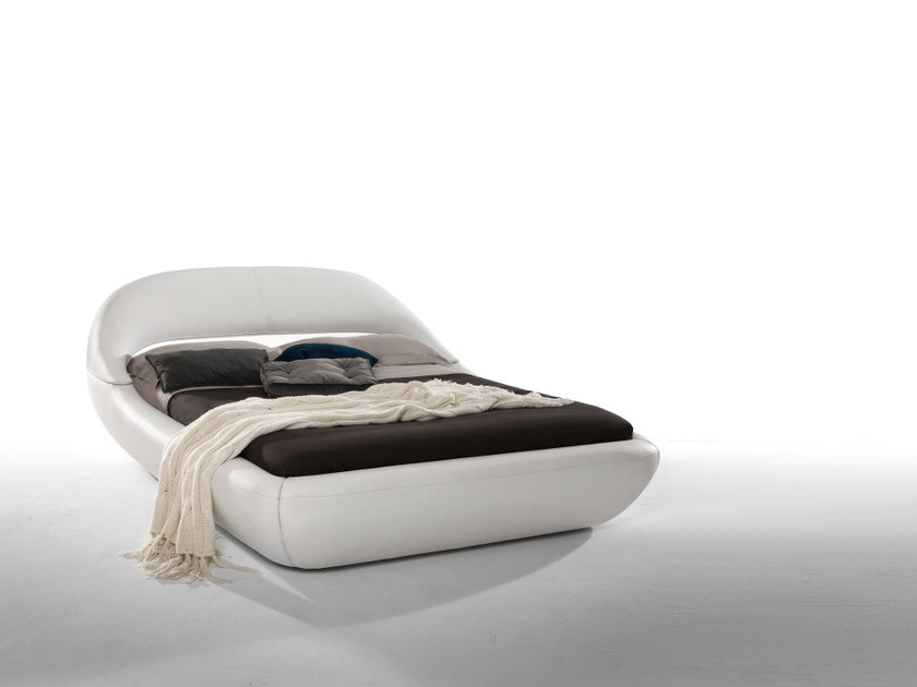 Upholstered leather double bed SLEEPY by Tonin Casa