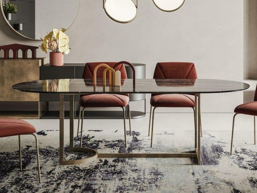 Tavolo con base in metallo e piano in ceramica SLICE by Ronda Design