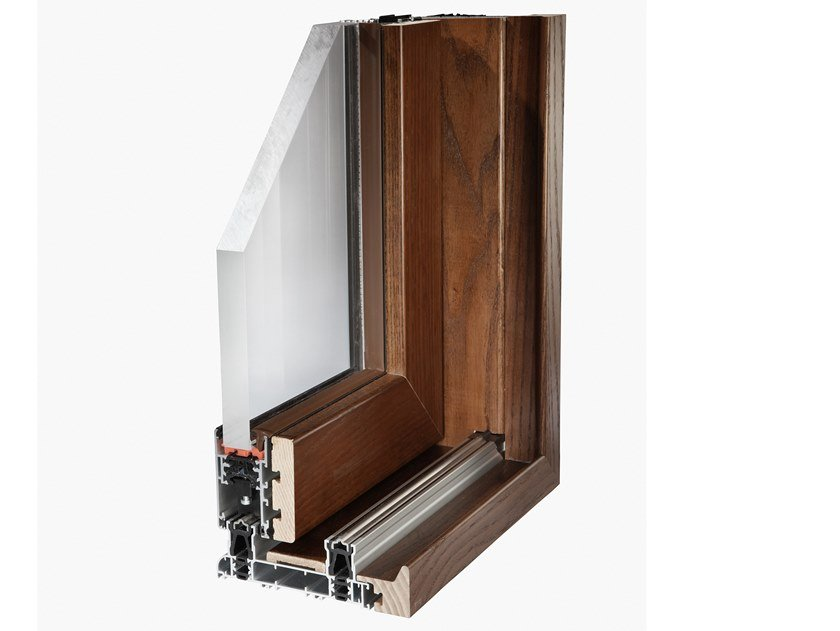 Aluminium and wood sliding window SLIDE WOOD 160 by Fresia Alluminio