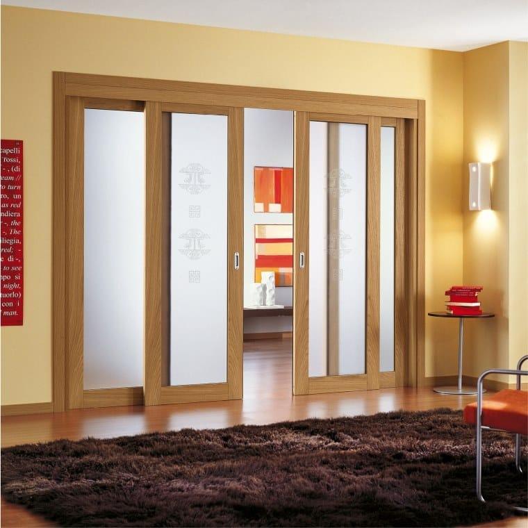 Porta scorrevole in legno e vetro Porta scorrevole - Ital-Plastick